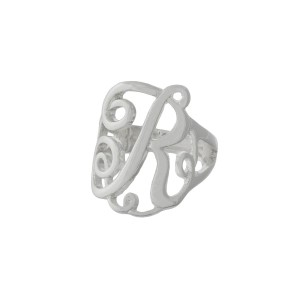 Silver tone stretch ring with the initial R.