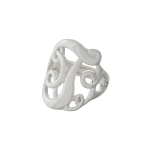 Silver tone stretch ring with the initial T.