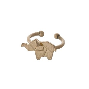 Gold tone adjustable ring displaying an elephant.