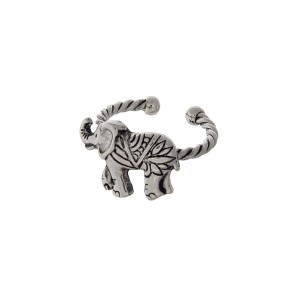 Silver tone twisted metal adjustable ring displaying an elephant.