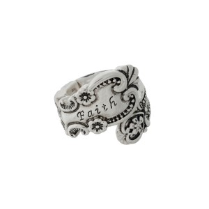 "Silver tone spoon stretch ring stamped with ""Faith."""
