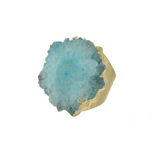 Hammered, gold tone adjustable ring with a light blue agate stone focal. Handmade in the USA.