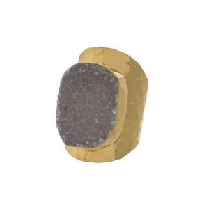 Hammered, gold tone adjustable ring with a gray druzy stone focal. Handmade in the USA.