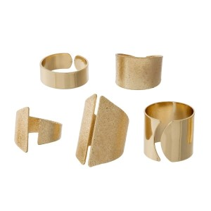 Five piece, adjustable ring set with smooth and pebbled textures.