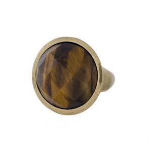 Burnished gold tone ring with a tiger'e eye stone. One size - size 9.