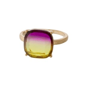 Gold tone ring with an ombre, square focal. One size, size 7.
