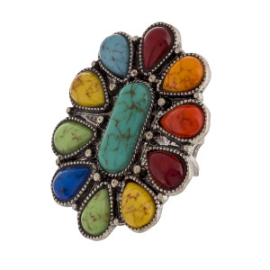 "Metal adjustable rings to fit your finger includes natural stone details. Approximate 2"" in length."
