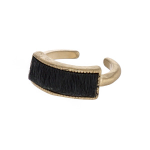 Faux fur encased metal ring.  - One size - Fits up to a size 8 ring