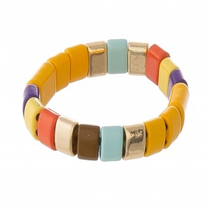 """Shiny enamel color block stretch ring.  - Approximately 1"""" in diameter unstretched - Fits up to a 3"""" finger or ring size 11"""