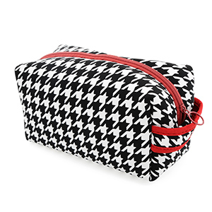 """Neoprene houndstooth toiletry zipper bag, approximately 10""""L X 5.5""""H X 4.5""""W"""