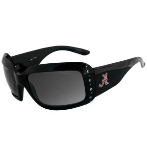 Thick black fashion sunglasses with a row of crystal rhinestone accents and a licensed Alabama logo