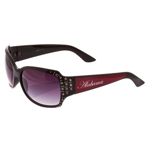 Black Frame Sunglasses With Officially Licensed Alabama Logo With Jewels On The Edge.