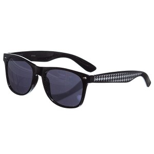 Black frame wayfarer sunglasses with a houndstooth trim.