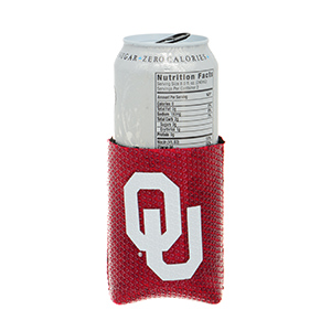 Dark red tone sequined Licensed Oklahoma University cup coozy.