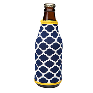 Navy blue and yellow patterned neoprene bottle coozy.