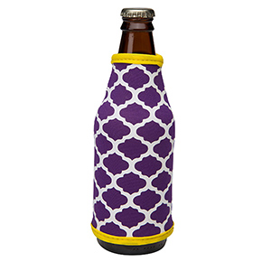 Purple and yellow patterned neoprene bottle coozy. Perfect for monogramming!