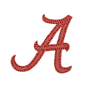 "4.5"" Glitter and rhinestone car decal with the University of Alabama script ""A"" logo"