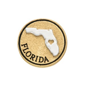 """Two tone snap charm featuring the state of Florida with a cutout heart stamped """"Florida"""". Snap jewelry collection."""