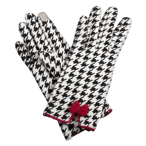 Black and white houndstooth touchscreen gloves with a red bow. 50% Cotton and 50% acrylic. One size fits most.