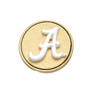Matte two tone officially licensed University of Alabama snap charm. Snap jewelry collection.