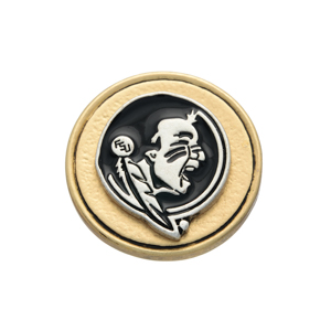 Matte two tone officially licensed collegiate snap charm with the Florida State Seminoles mascot. Snap jewelry collection.