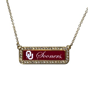 "Officially licensed 18"" Gold tone necklace featuring a Oklahoma symbol and Sooners written on a rectangular pendant accented by rhinestones."