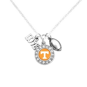 "Officially licensed 16"" Silver tone chain necklace featuring a cluster pendant with a ""Love"" and football charm and a round Tennessee logo surrounded with crystal clear rhinestones."