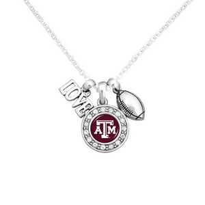 "Officially licensed 16"" Silver tone chain necklace featuring a cluster pendant with a ""Love"" and football charm and a round Texas A&M logo surrounded with crystal clear rhinestones."