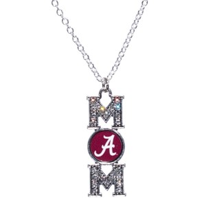 "Officially licensed 16"" Silver tone chain necklace featuring a 1 1/2"" Pendant written ""MOM"" with an Alabama logo accented with crystal clear rhinestones."