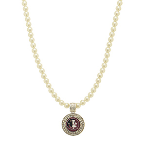 """Officially licensed 16"""" Ivory pearl beaded necklace featuring a 1"""" round silver tone Florida State pendant surrounded by crystal clear rhinestones."""