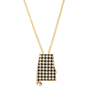 "17"" gold tone chain necklace featuring a 2 1/2"" state of Alabama pendant with houndstooth print. This has a 2"" extender."