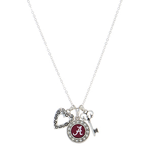 "Officially licensed 18"" silver tone necklace featuring an Alabama logo, a heart shaped charm, and a key."