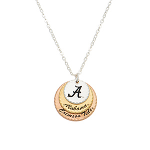 "Silver tone collegiate necklace featuring three mixed metal disk stamped ""A,"" ""Alabama,"" and ""Crimson Tide."" Approximately 17"" in length."