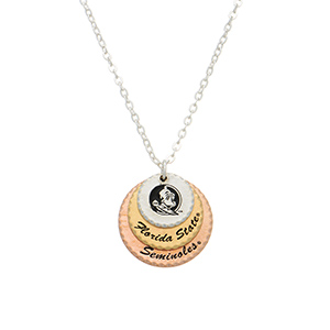 """Silver tone officially licensed collegiate necklace featuring three mixed metal disk stamped """"Florida State"""" and """"Seminoles"""". Approximately 17"""" in length."""