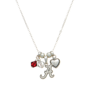 "Silver tone collegiate necklace featuring an Alabama charm. Approximately 17"" in length."