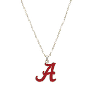 "Silver tone officially licensed collegiate necklace featuring a University of Alabama charm. Approximately 17"" in length."