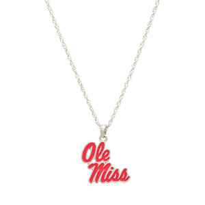 "Silver tone officially licensed collegiate necklace featuring a University of Mississippi charm. Approximately 17"" in length."