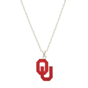 "Silver tone officially licensed collegiate necklace featuring a University of Oklahoma charm. Approximately 17"" in length."