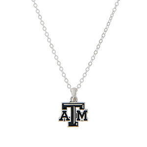 "Silver tone necklace with an officially licensed Texas A&M University pendant. Approximately 18""in length."