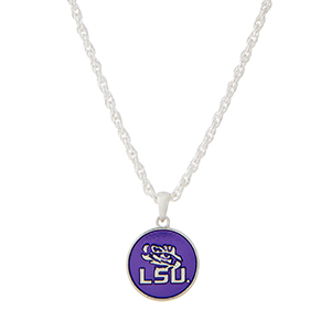 "Silver tone necklace with a purple officially licensed Louisiana State University pendant. Approximately 18"" in length."