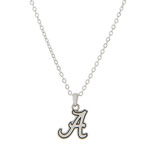 "Silver tone necklace with an officially licensed University of Alabama pendant. Approximately 18""in length."
