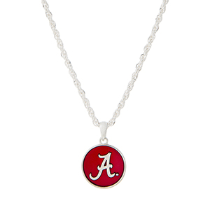 """Silver tone necklace with a crimson officially licensed University of Alabama pendant. Approximately 18"""" in length."""