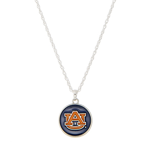"Silver tone necklace with a navy and orange officially licensed Auburn University pendant. Approximately 18"" in length."