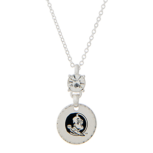 """Silver tone necklace with a rhinestone and an officially licensed Florida State Seminoles pendant. Approximately 18""""in length."""