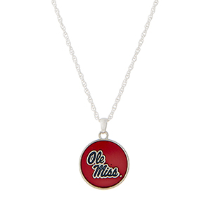 "Silver tone necklace with a red officially licensed Ole Miss pendant. Approximately 18"" in length."