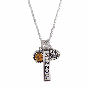 "Officially licensed University of Missouri silver tone necklace with a yellow rhinestone, logo, and a Tigers stamped bar charm. Approximately 18"" in length."