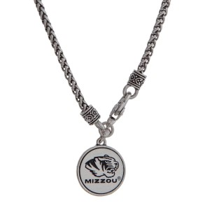 "Officially licensed University of Missouri silver tone necklace with a front lobster claps and a logo charm. Approximately 18"" in length."