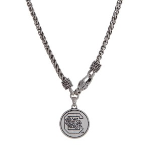 "Officially licensed University of South Carolina silver tone necklace with a front lobster claps and a logo charm. Approximately 18"" in length."