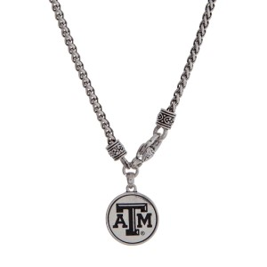 "Officially licensed Texas A&M University silver tone necklace with a front lobster claps and a logo charm. Approximately 18"" in length."