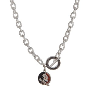 """Silver tone officially licensed Florida State University toggle necklace with the logo charm. Approximately 18"""" in length."""